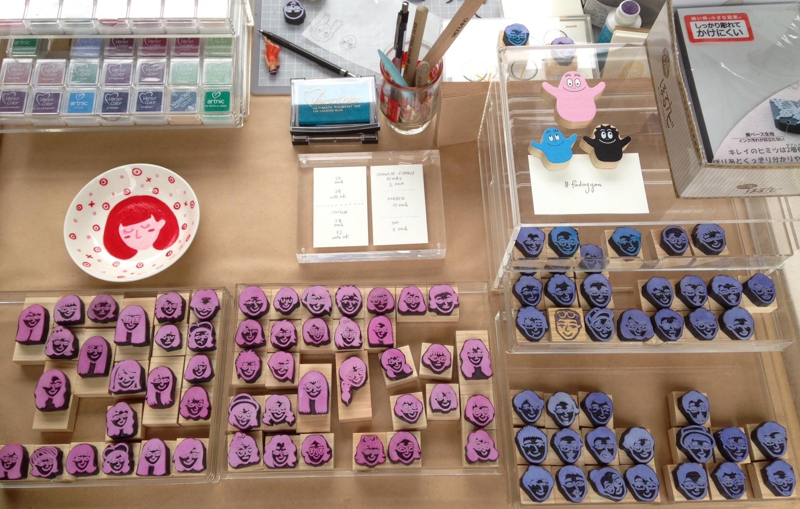 Handcrafted portrait stamps for sale at the Gillman Barracks Supermama Design Mart in April 2017.