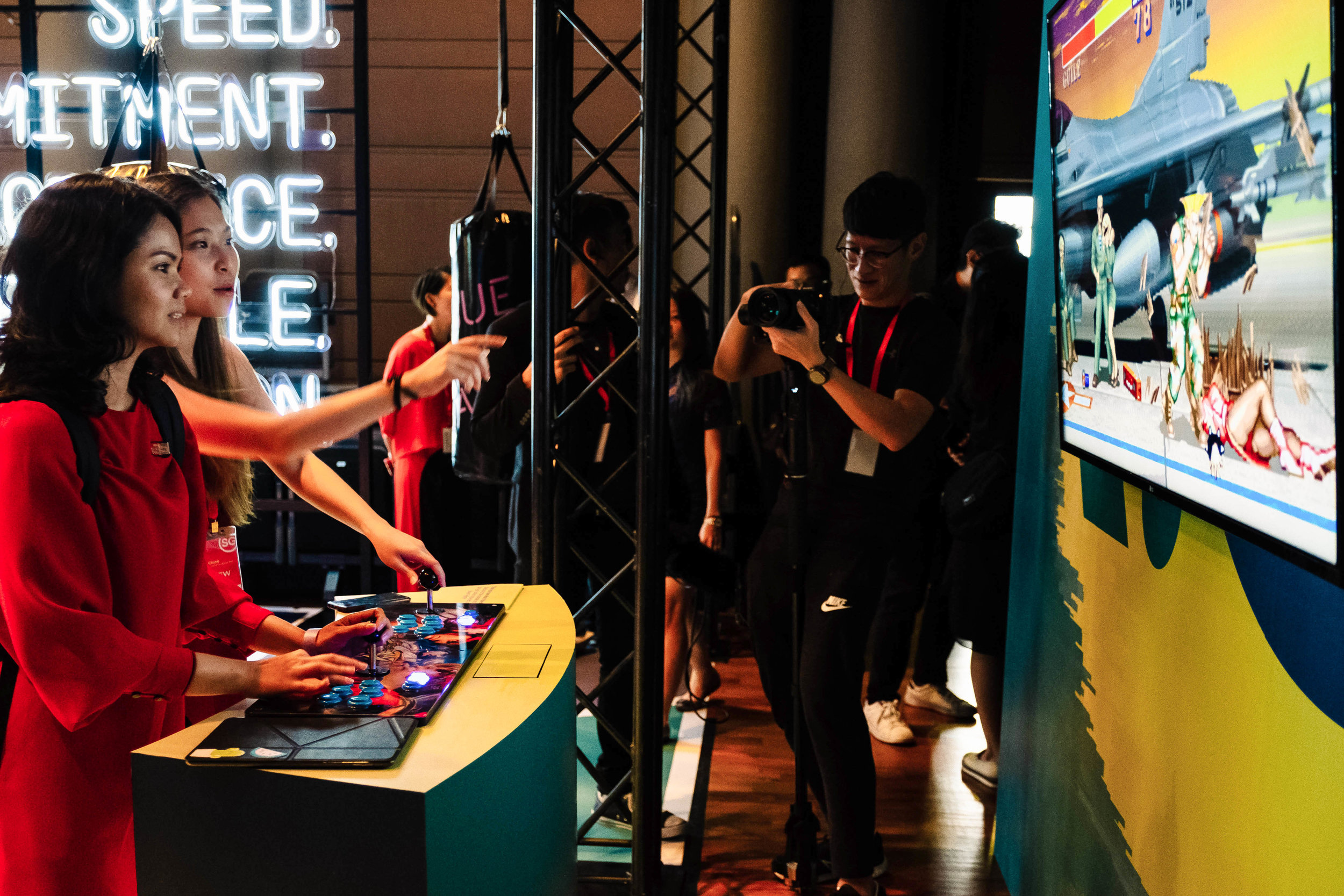 Interactive and immersive: guests hanging out, having fun, and reaching to score new heights