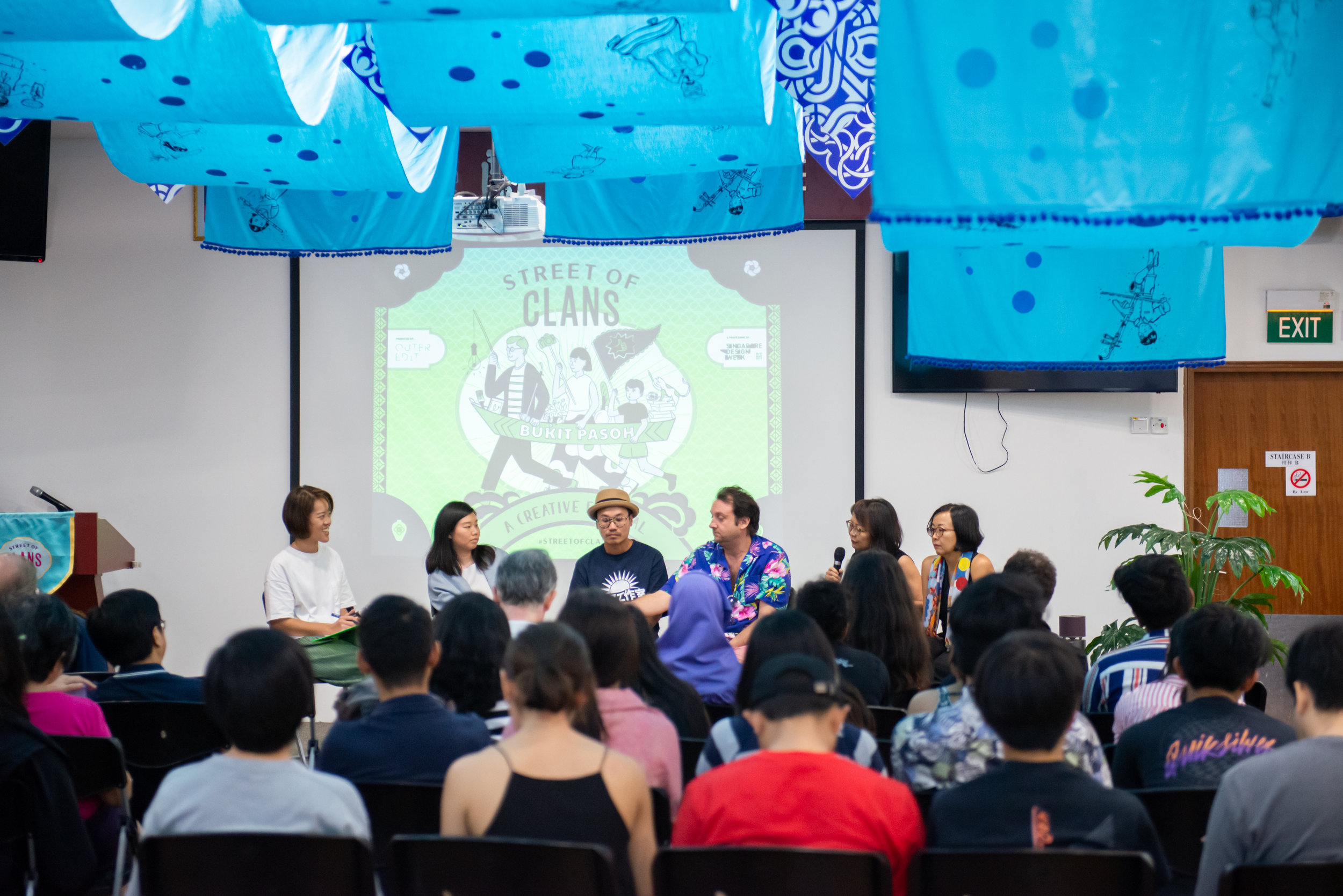 L-R: Jacqueline Chang; Cherin Tan and Jason Tong of LAANK; Steve Lawler of MOJOKO; and Sari and Santhi Tunas from Binary Style discussing how they've embraced local heritage to create new work