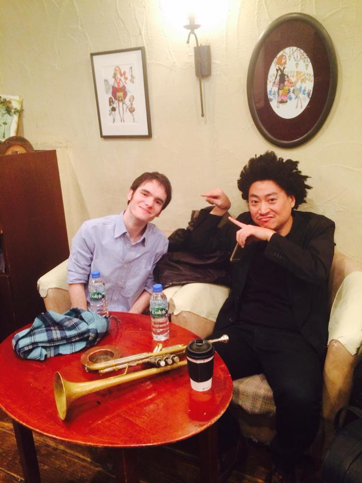 Takuya and I hanging out before the gig.