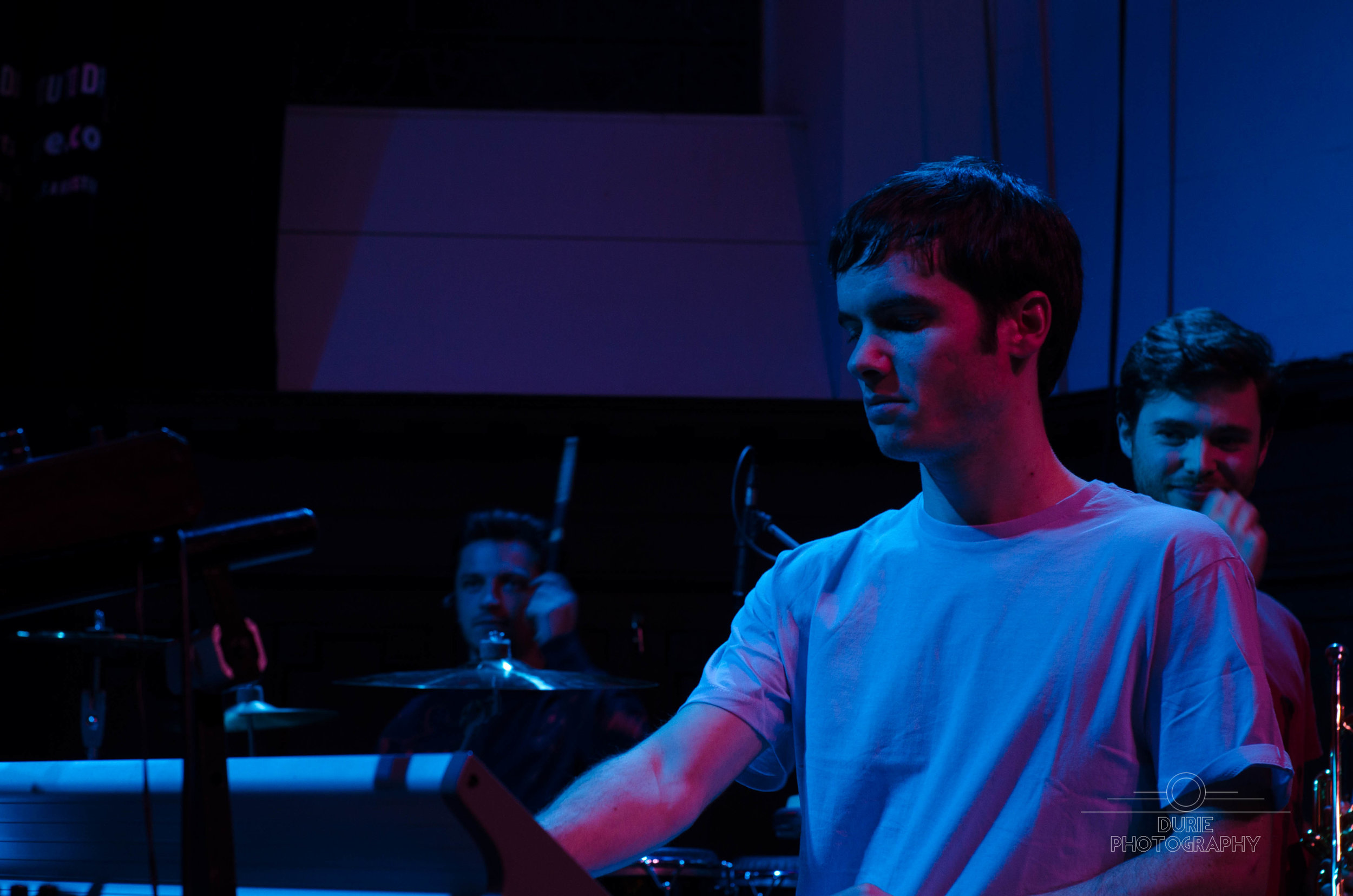 Thanks to  Connor Durie  for this photo from Fat-Suit at Celtic Connections. I wonder what Alex (behind me) is thinking here...