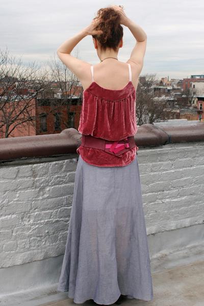 *©SK Beaumont Velvet Camisole, Belt, Batiste Skirt--ROOF.JPG