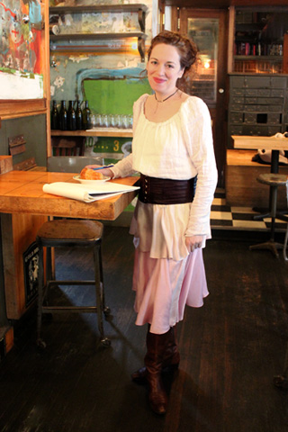 Linen Blouse, Leather Corset Belt, Silk Tiered Skirt   (Photo: Robert Lucy, 2016)