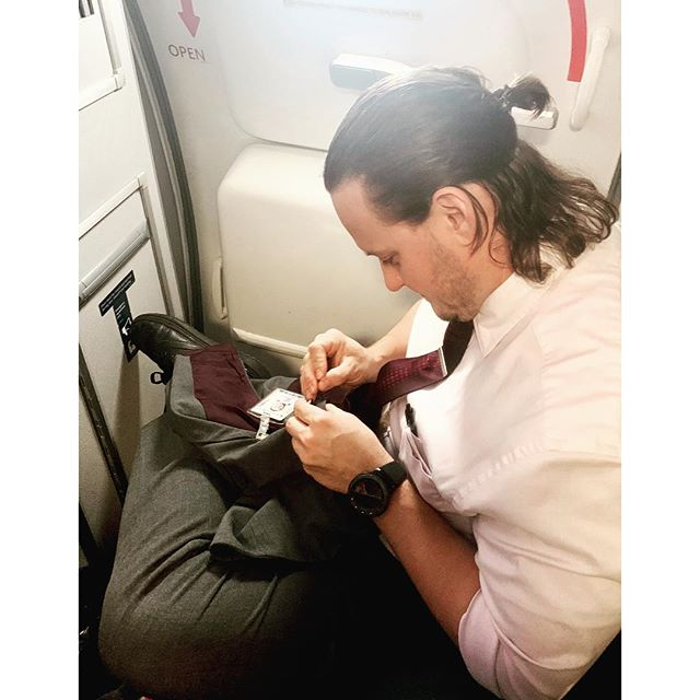 I will be teaching a Mending Workshop at Contemporary Craft in Pittsburgh on October 5th. Bring a an item in need of repair and learn hands-on how to restore it! Took this photo of a flight attendant securing a button on his uniform jacket. Mending tools are portable. The process is meditative. #mending #sustainability #restore @sccpgh #pgh