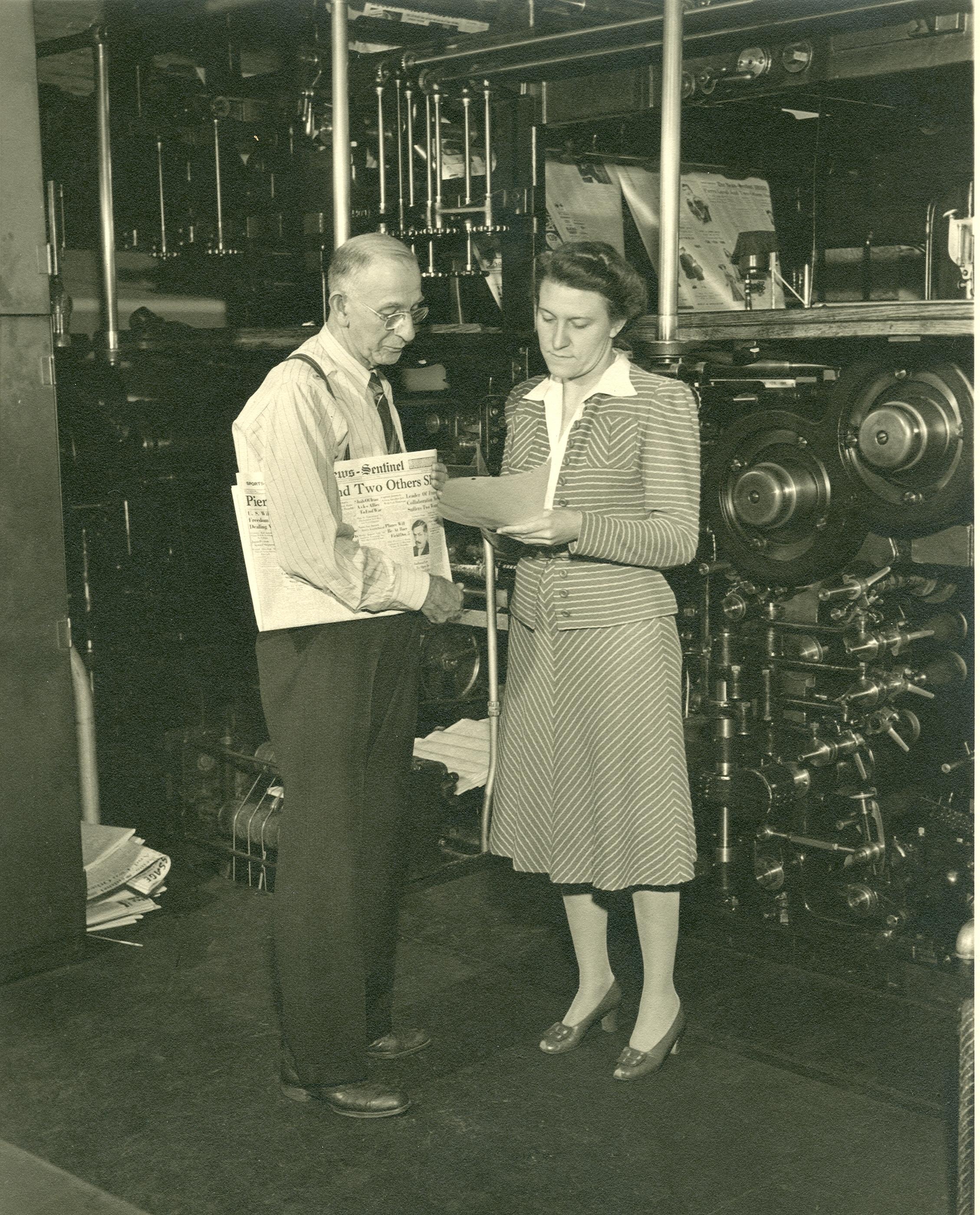 Helene Foellinger in News-Sentinel pressroom