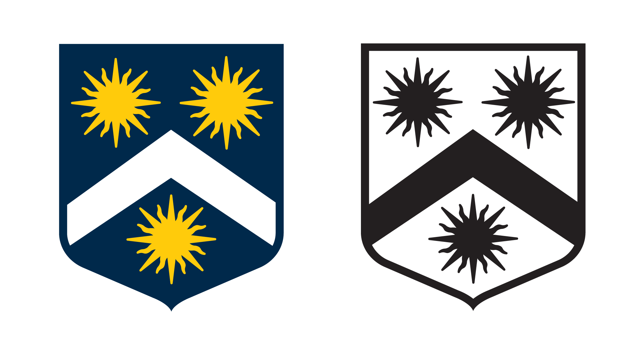 Blazon: Azure, a chevron Argent between three suns Or.  (A silver chevron between three golden suns on a blue field). For the purposes of using it as a logo i have also made a b/w version to be used when appropriate.