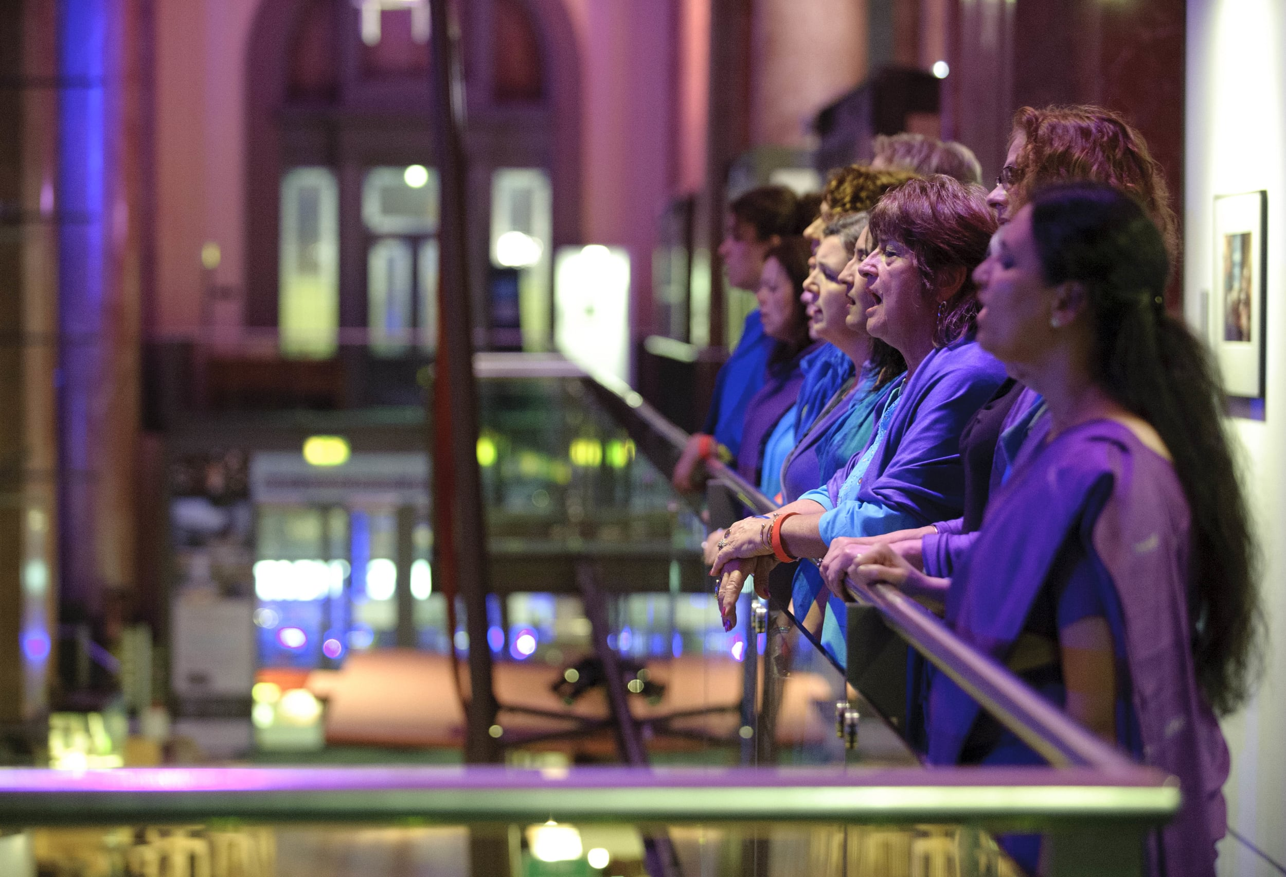 Sacred Sounds Women's Choir performing 'Lullaby'with Jason Singh at Royal Exchange Theatre. Photo: Joel Chester-Fildes