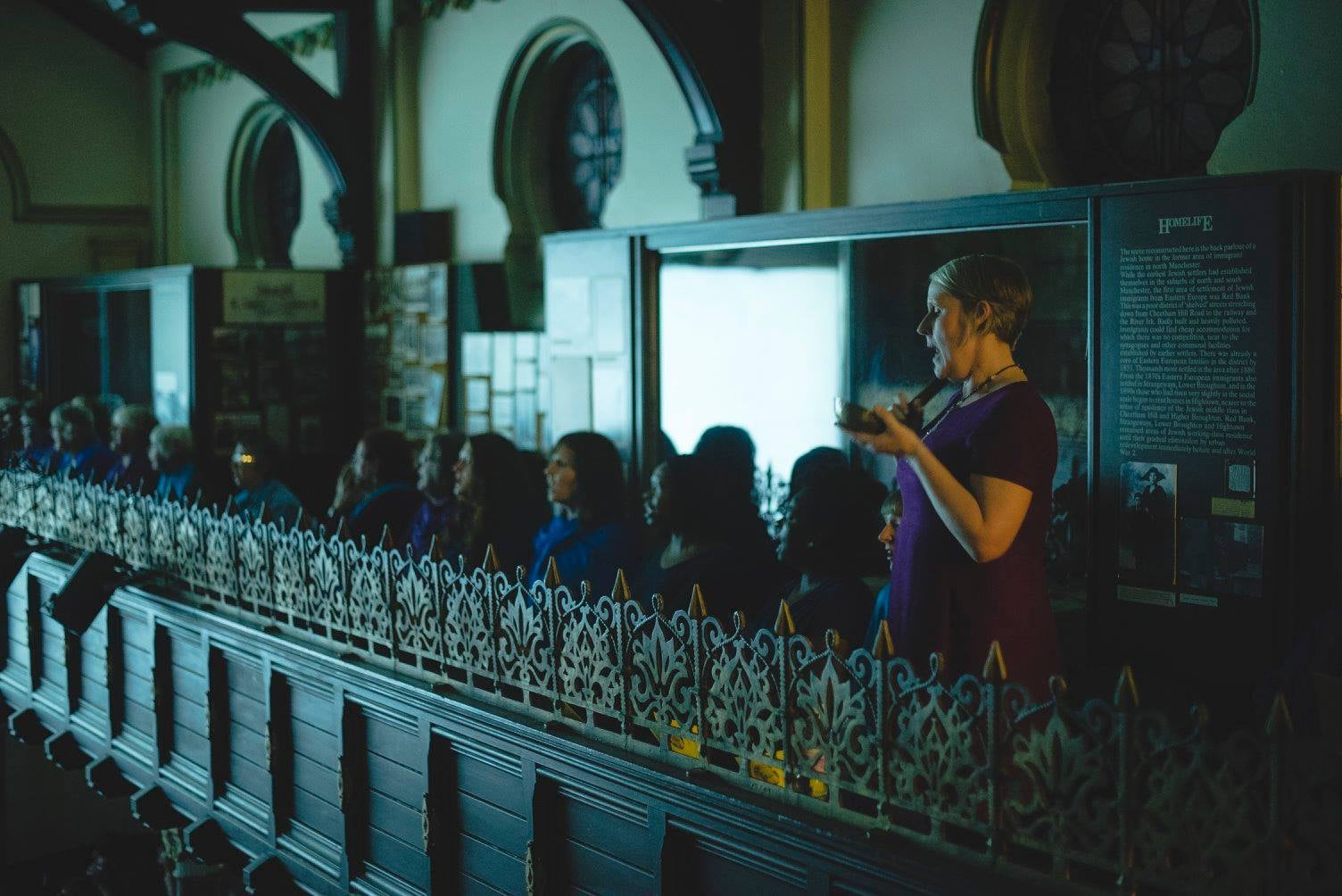 Sacred Sounds Women's Choir perform their specially composed score to  In Search of Silent Landscapes  as part of Video Jam at Manchester Jewish Museum. Photo: Drew Forsyth.