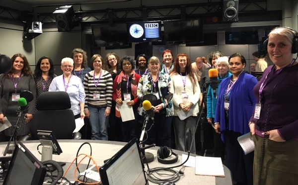 Beth Allen and SSWC members at Media City getting ready to perform on BBC Radio 2. Image by Rachel Furst.