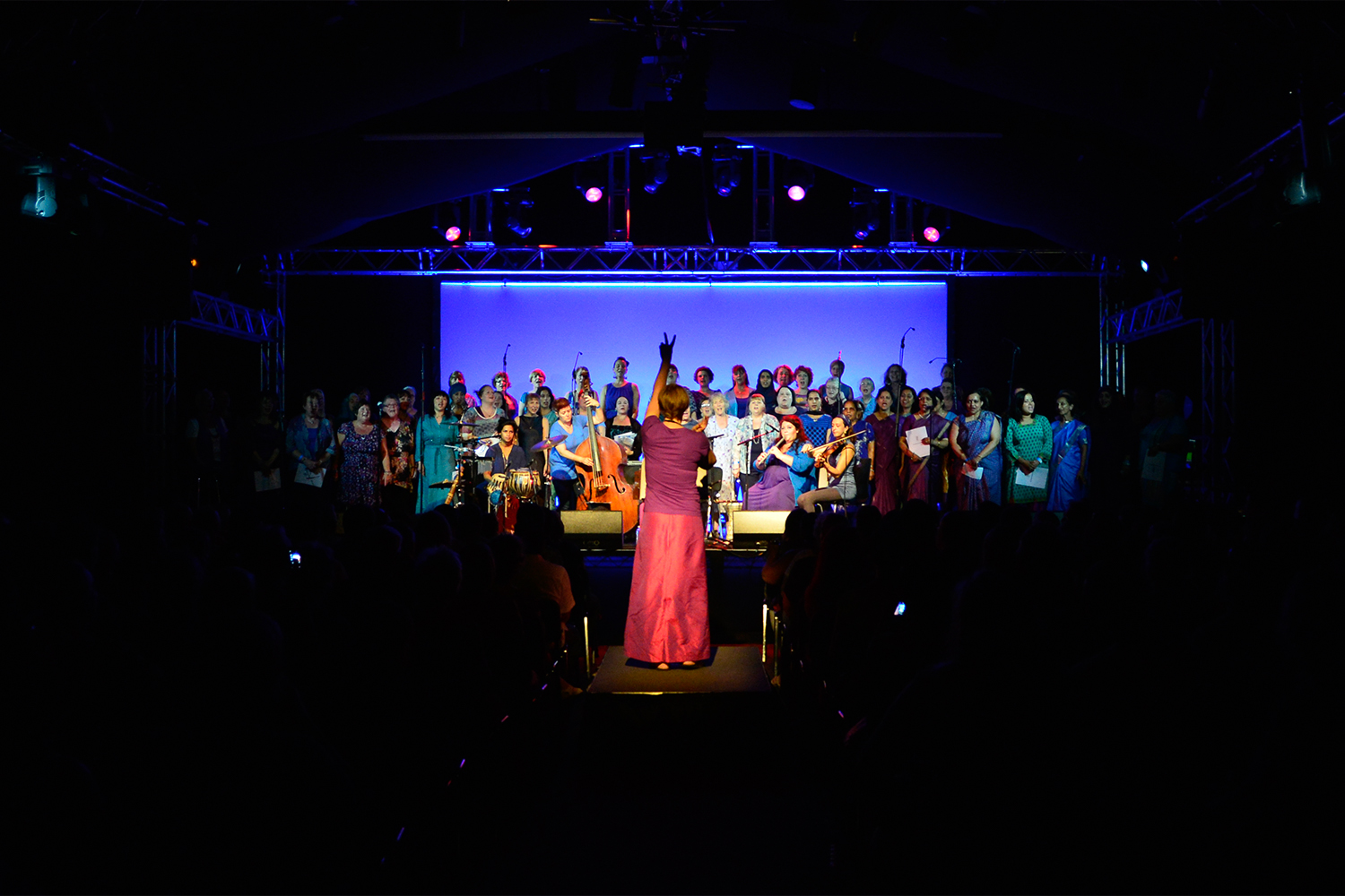 Sacred Sounds Women's Choir performance at the MIF13 Festival Pavilion Photo: Robert Martin for Manchester International Festival