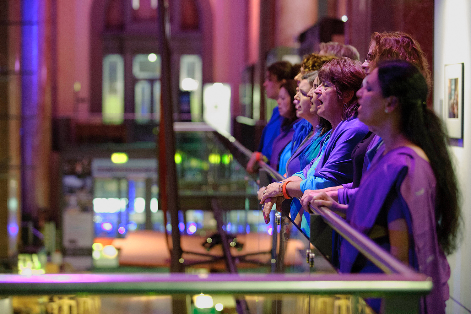 Sacred Sounds Women's Choir performing 'Lullaby' alongside Jason Singh as part of 'A Night at the Theatre — A Sleepover' at the Royal Exchange Theatre Photo: Joel Chester Fildes Photography