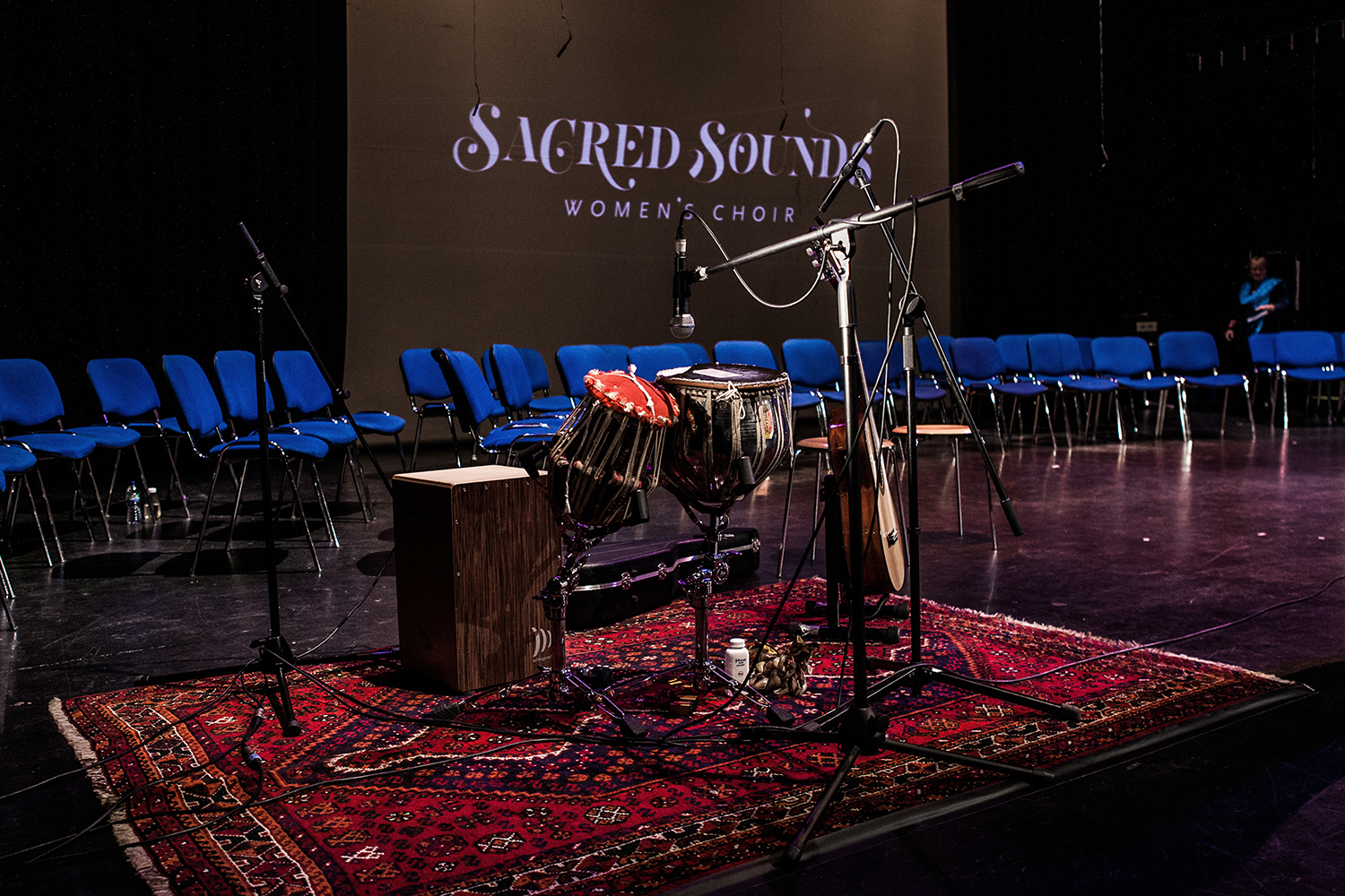 Setting up Renu Hossain's equipment for the Sacred Sounds Women's Choir Showcase Event Photo: Michela De Rossi