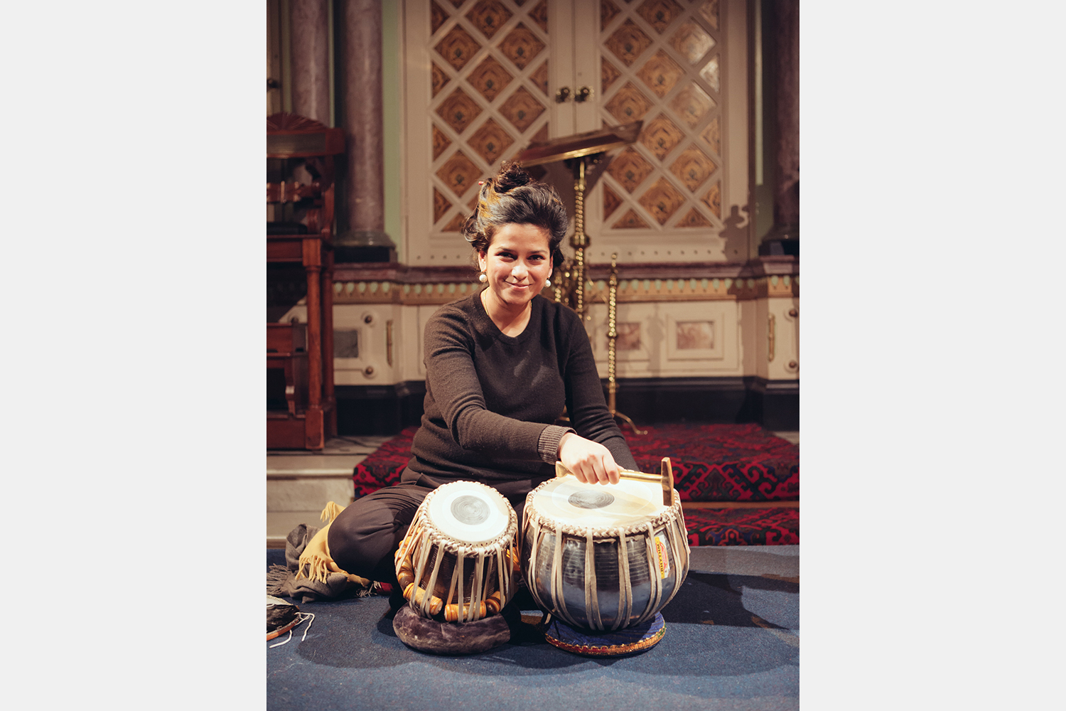 Renu Hossain with instruments at the Sacred Sounds Women's Choir showcase event Photo: Ray Chan