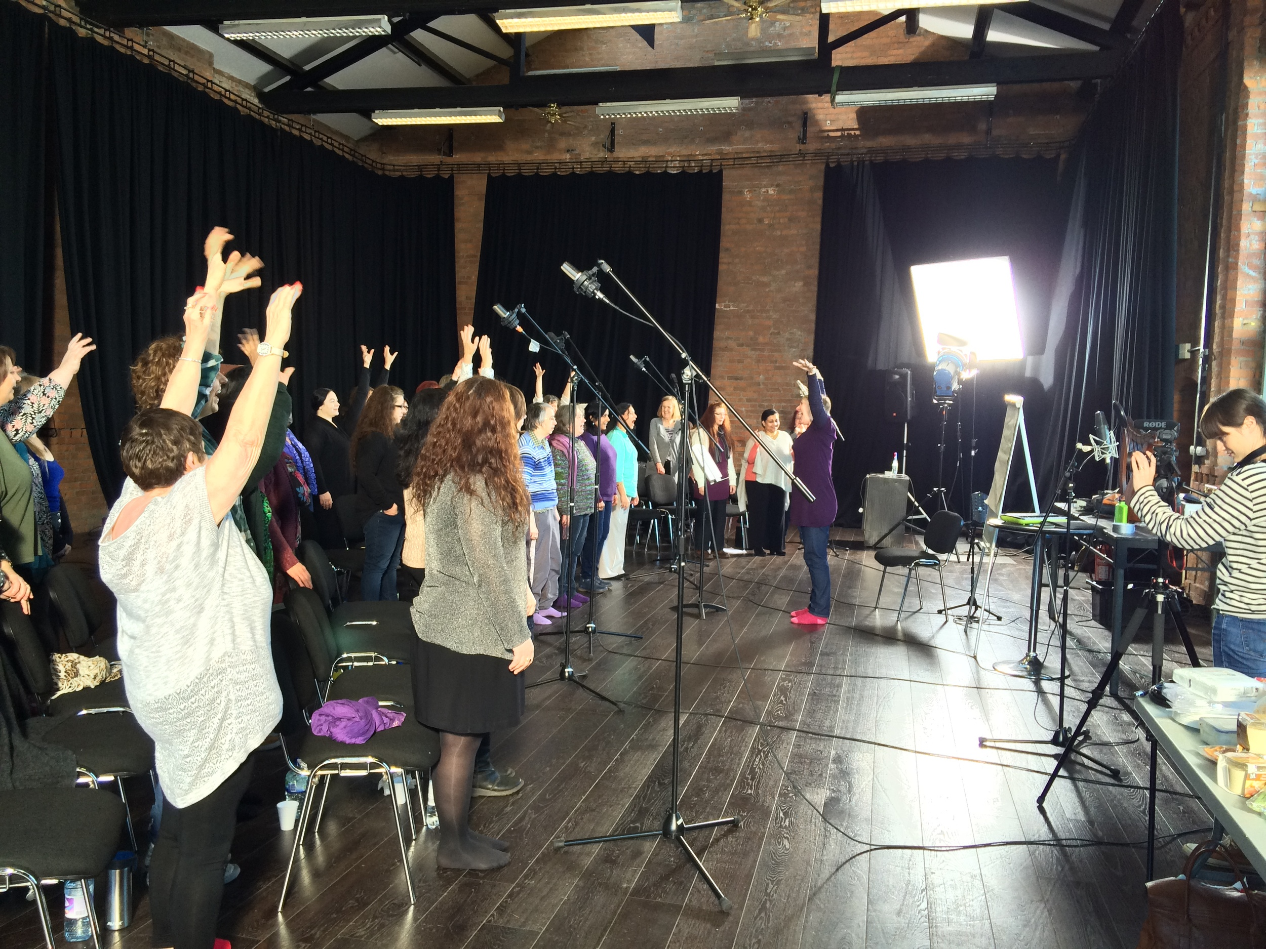 Sacred Sounds Women's Choir recording with Sarah Yaseen and Renu at Blueprint Studios. Image by Kate Houlton.