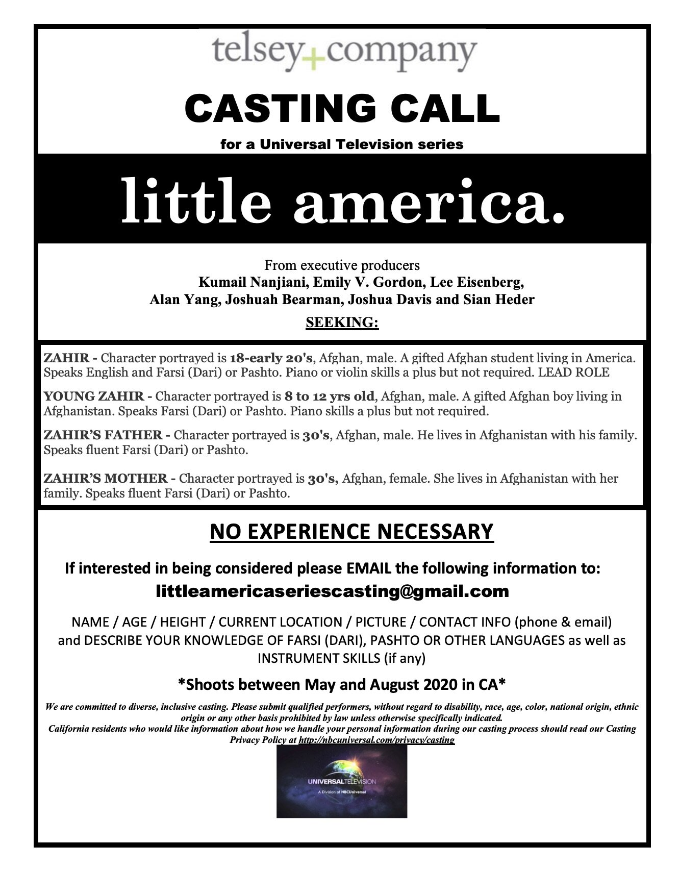 CASTING CALL FOR AFGHAN ACTORS: LITTLE AMERICA TV SHOW