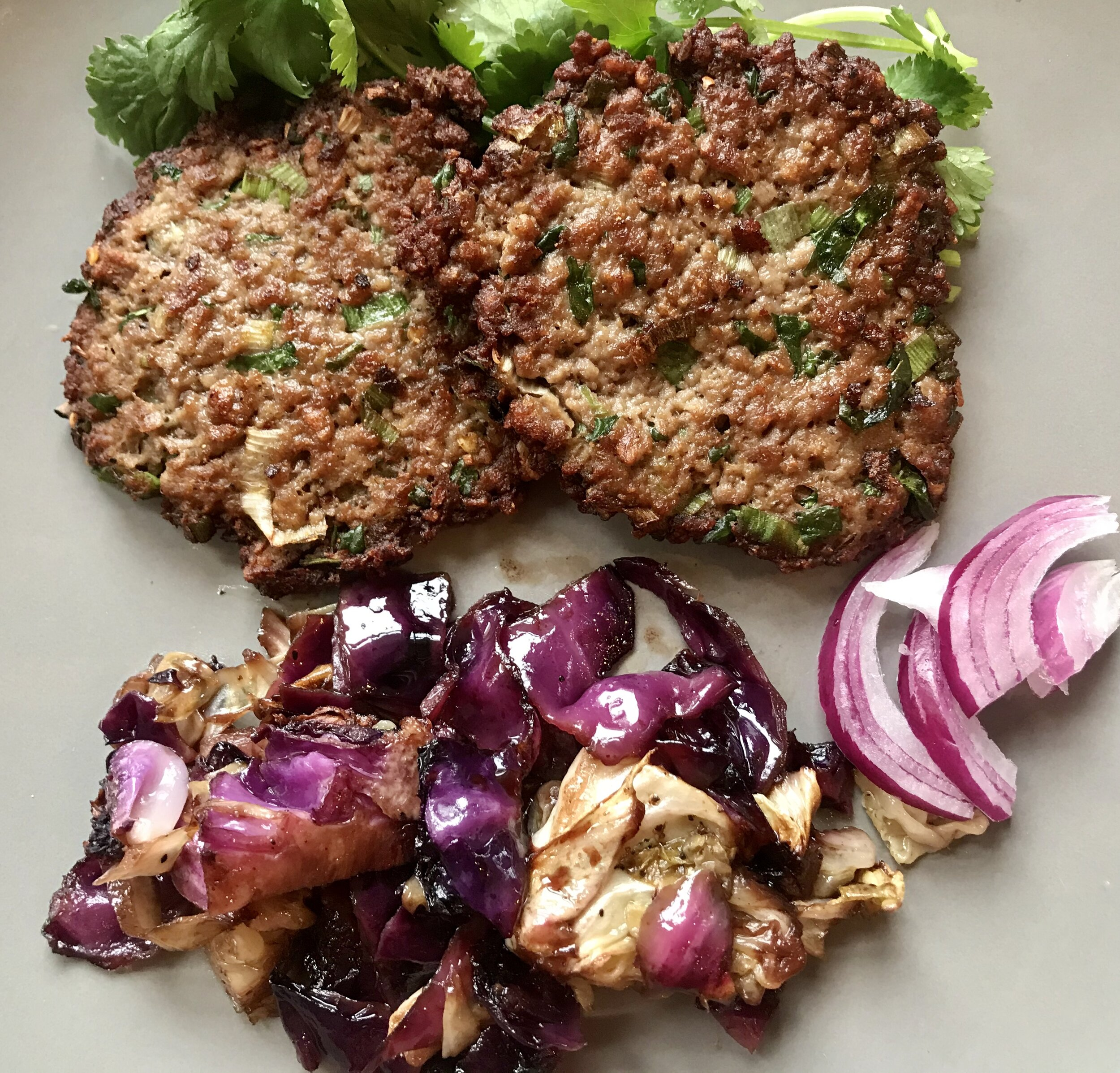 Byond meat, plant-based kebab with a side of roasted cabbage