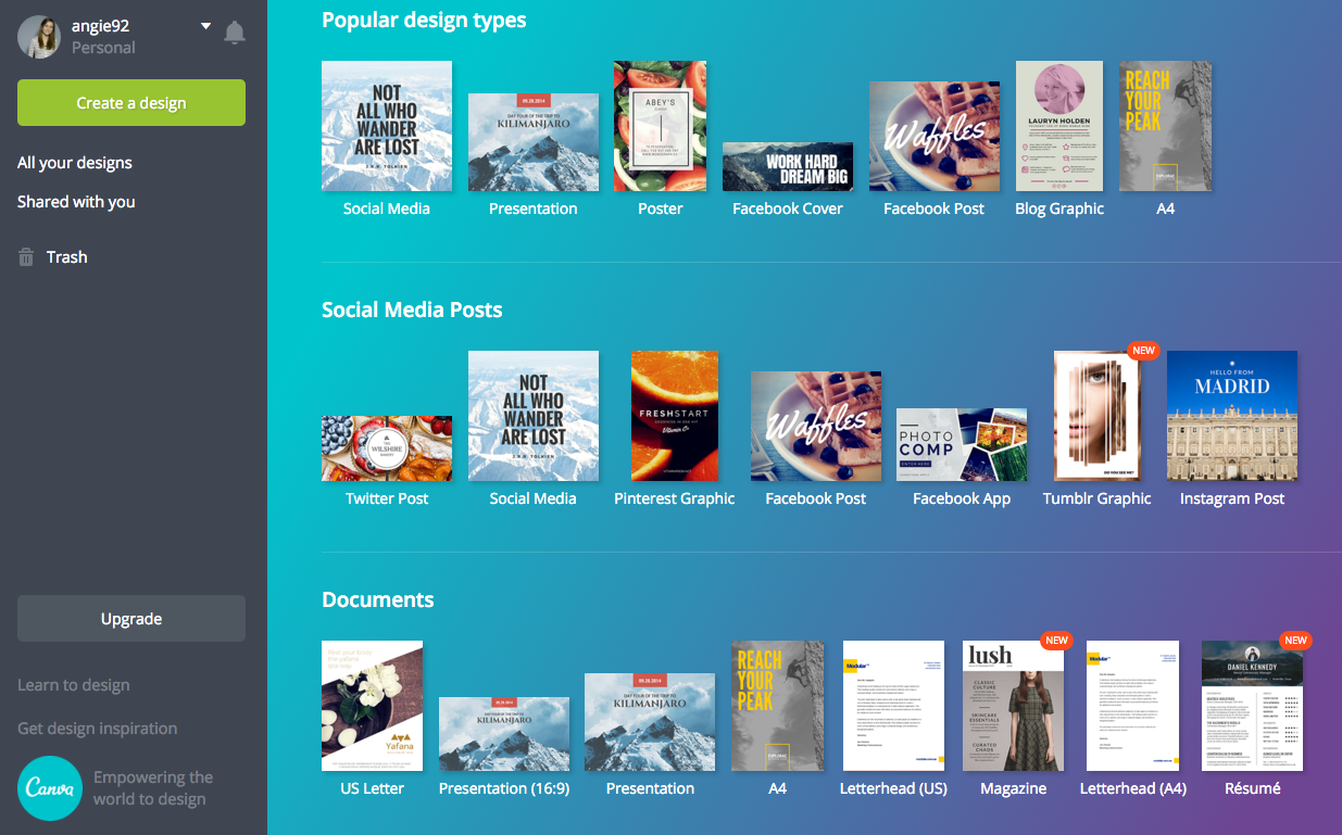These are just some of the design templates offered on Canva.