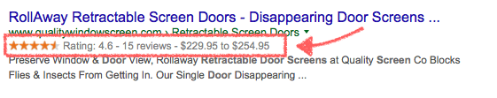 Example of rich snippets displaying in organic search results.