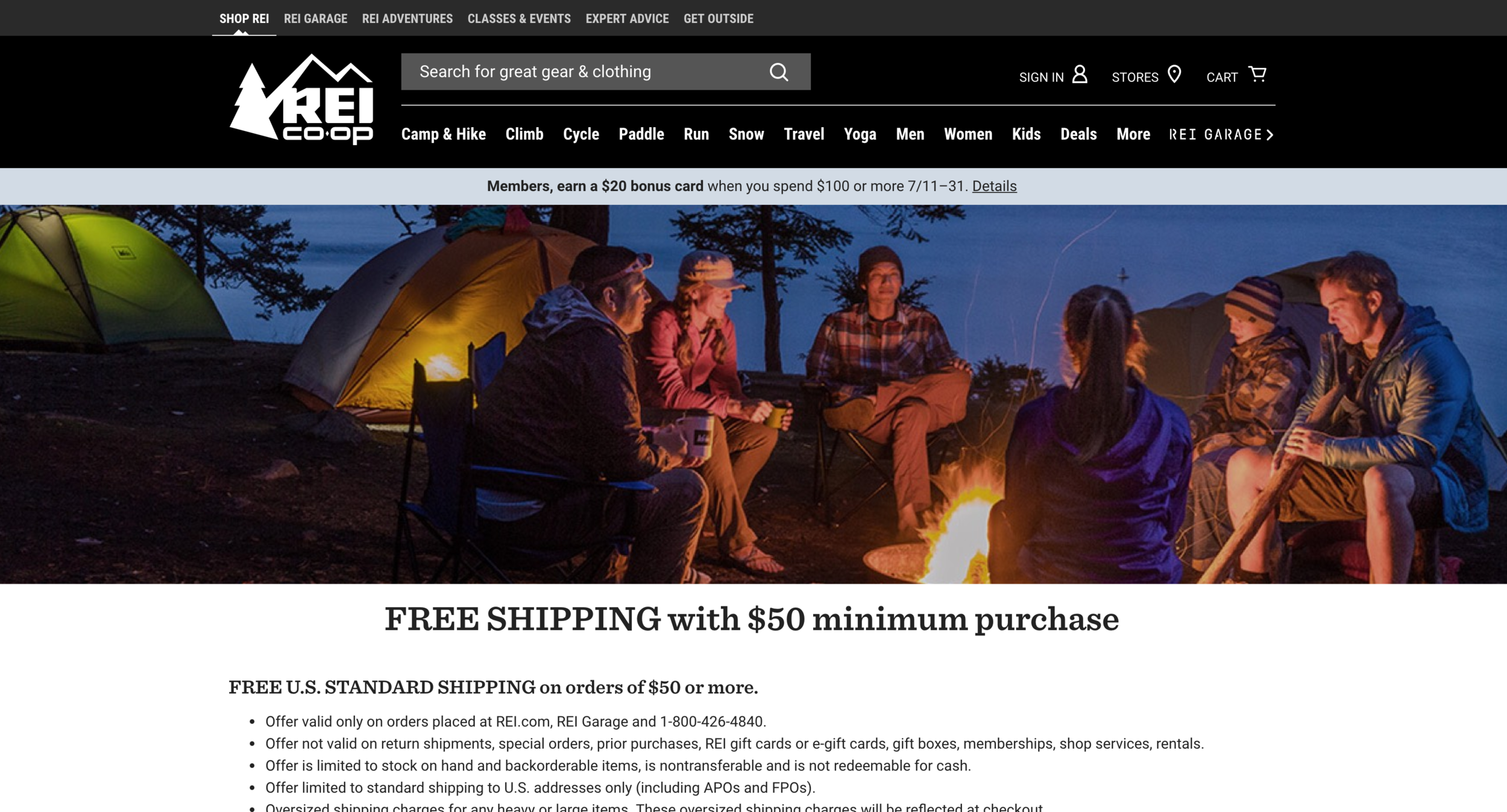 REI  offers free shipping on orders over $50.