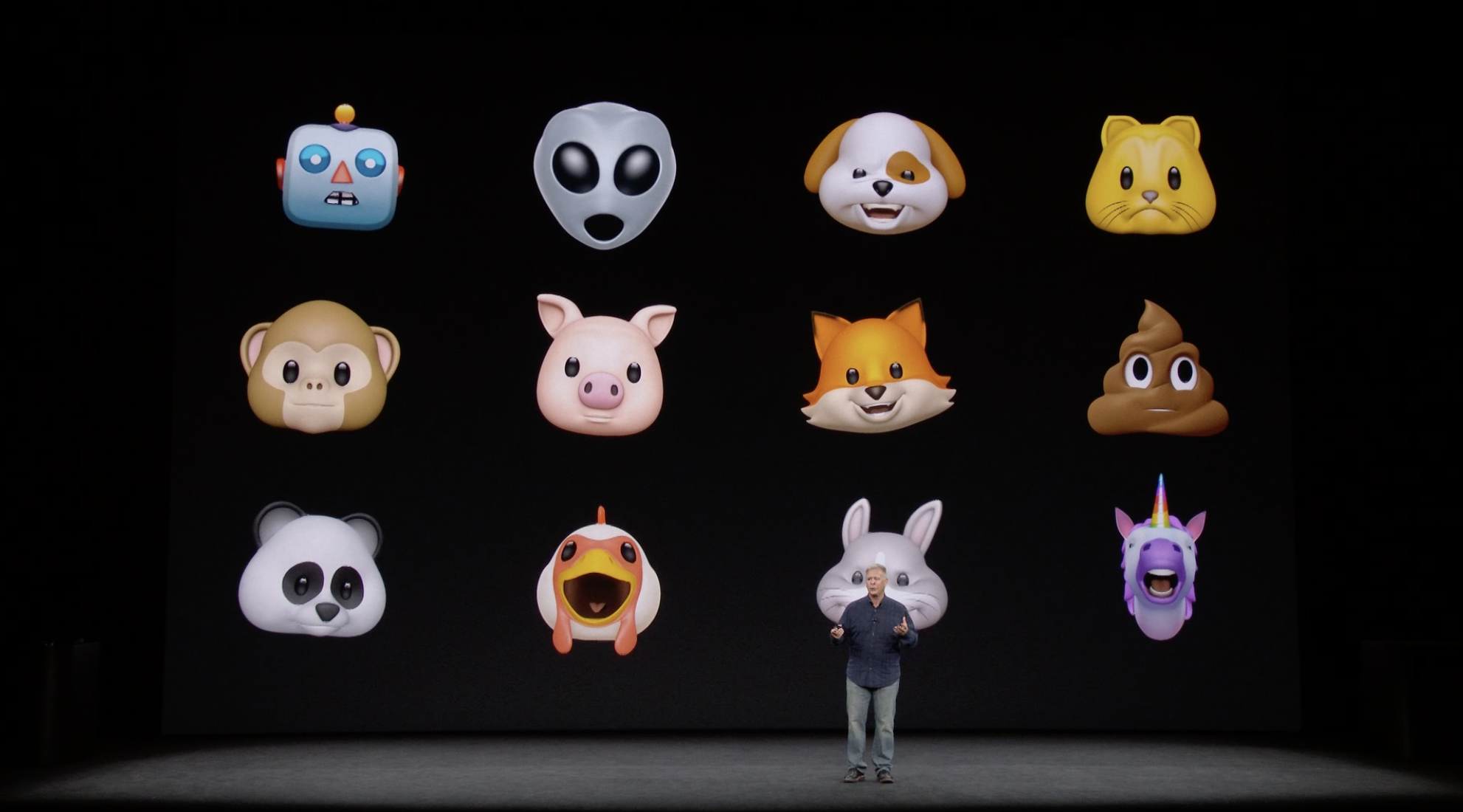 New Animojis that will be available with the iPhone X