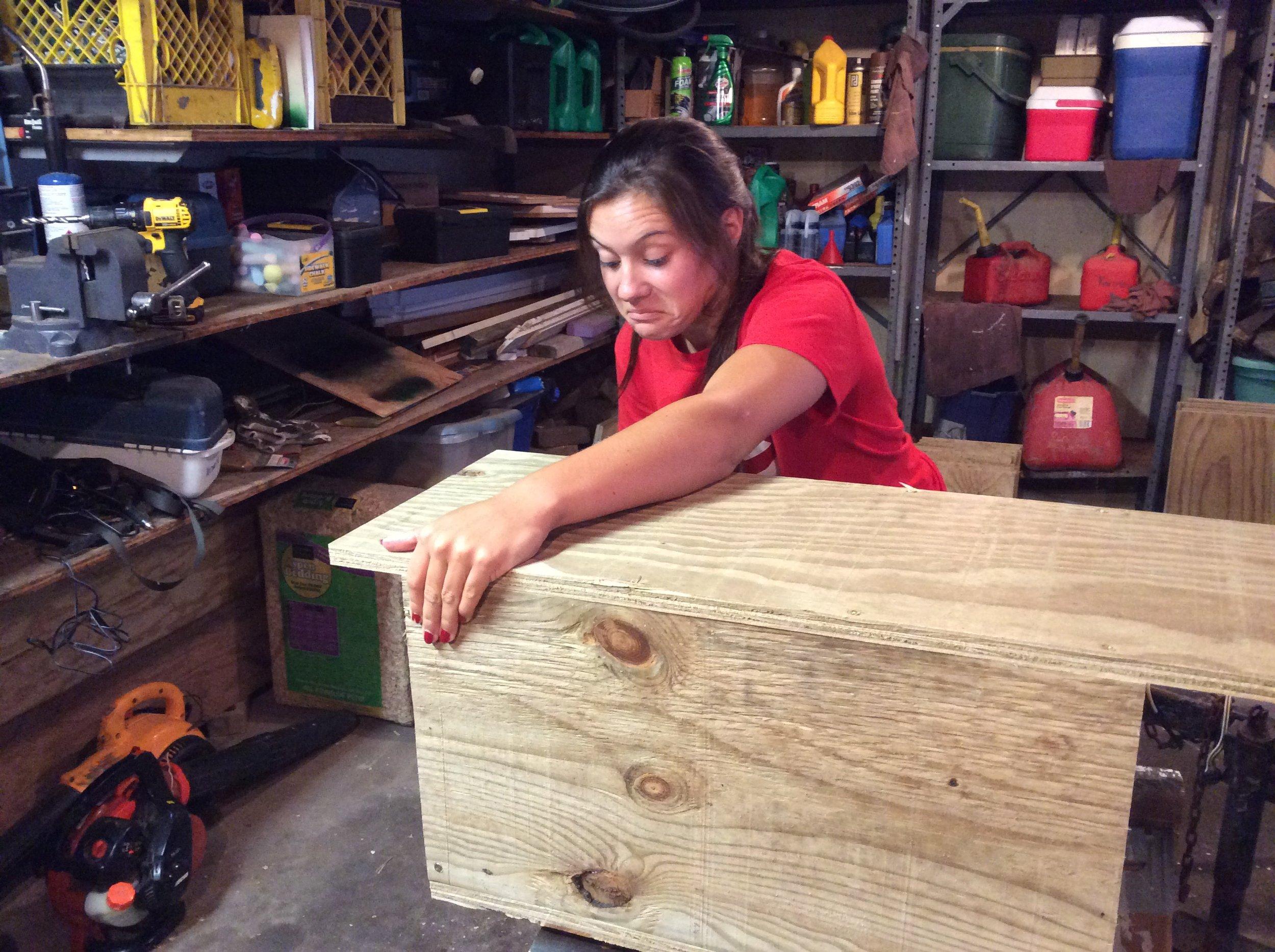 Sarah making wood duck boxes 8-2015 (7).JPG
