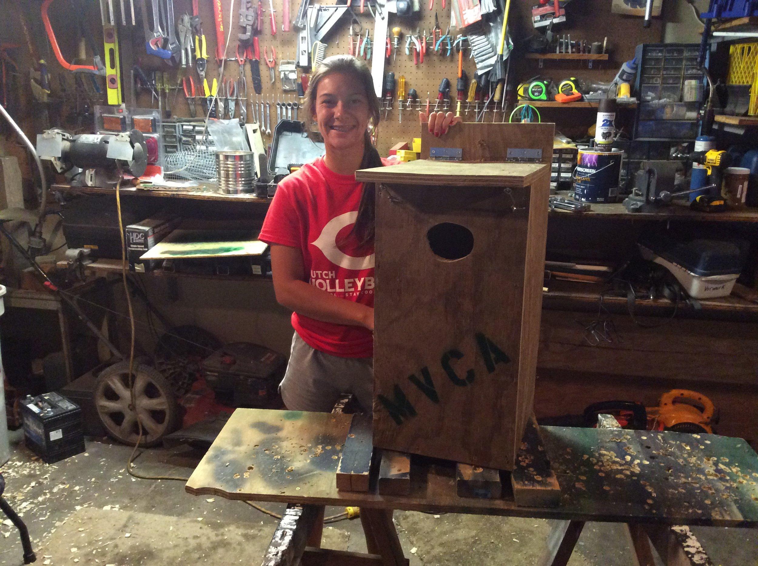 Sarah making wood duck boxes 8-2015 (14).JPG