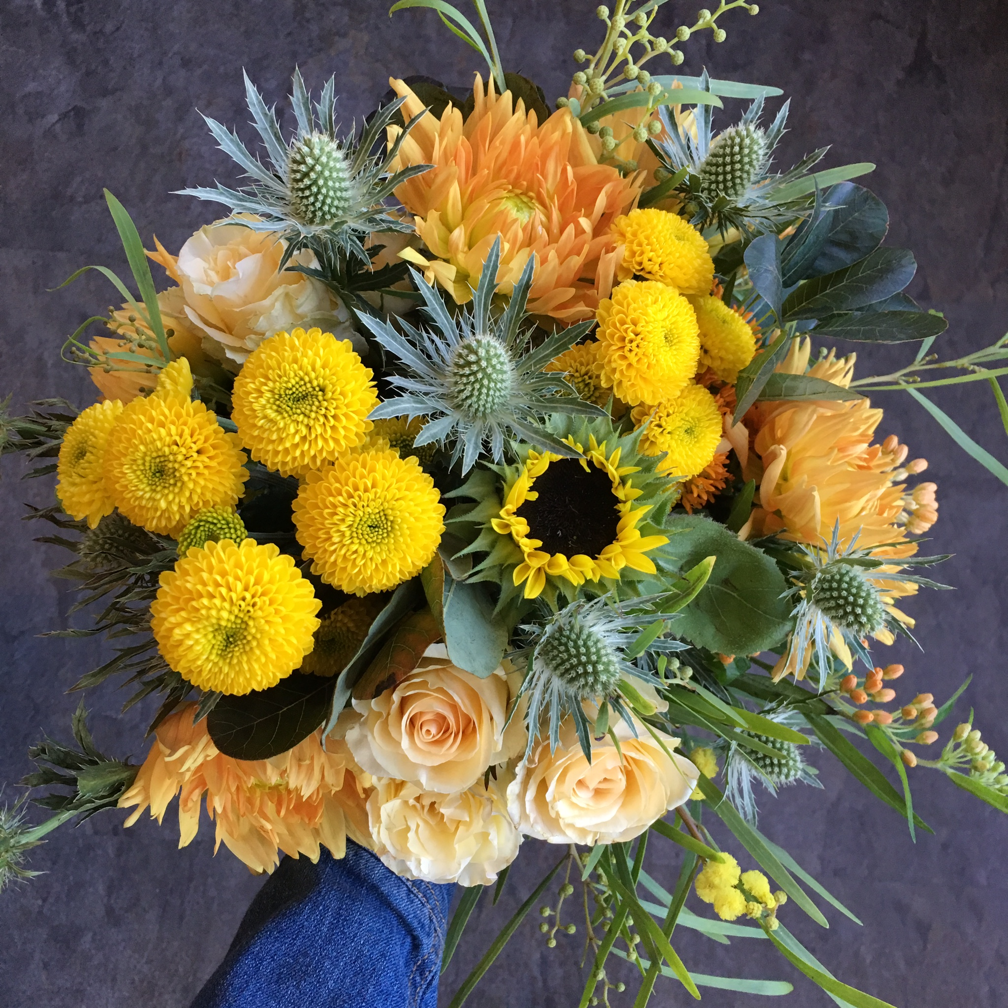 Yellow and apricot hand-tied bouquet