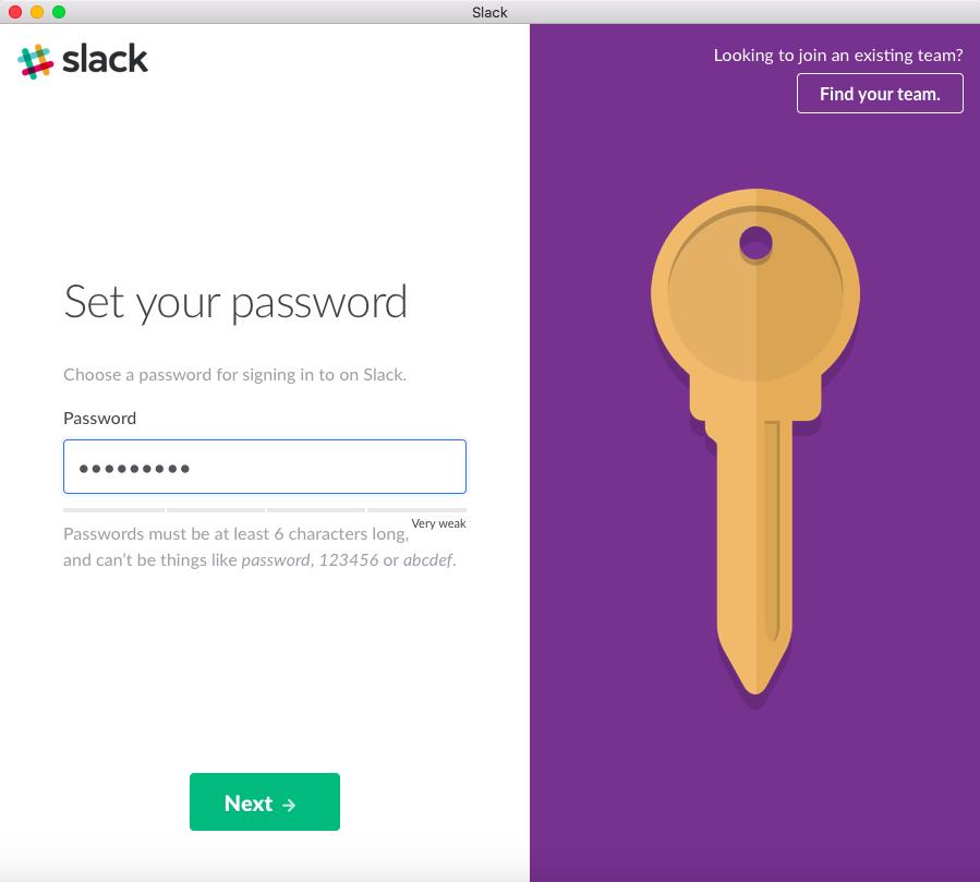 Set a Slack password