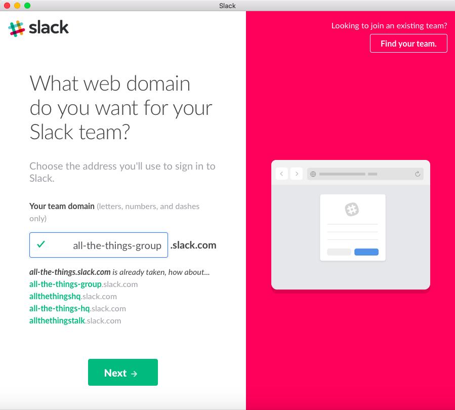Create a Slack web domain name