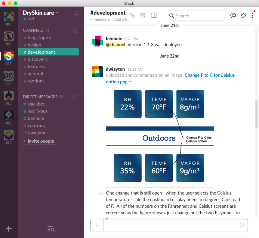 Slack Channels to communicate with whole team