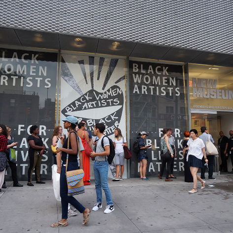 Black Women Artists for Black Lives Matter participants arriving at the New Museum, on the Lower East Side of Manhattan, for Thursday night's program. Photo Credit Richard Perry / The New York Times