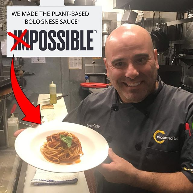 "At Ciabatta Bar, we make the IMPOSSIBLE, possible... Now serving the ""IMPOSSIBLE Spaghetti; inspired by our partner @impossiblefoods who created the famous plant-based impossible burger.  #impossible #impossiblepasta #impossiblespaghetti #impossibleburger #italianfood #plantbased #pasta"