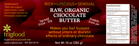 FOOD LABEL: Trig Raw Organic Chocolate