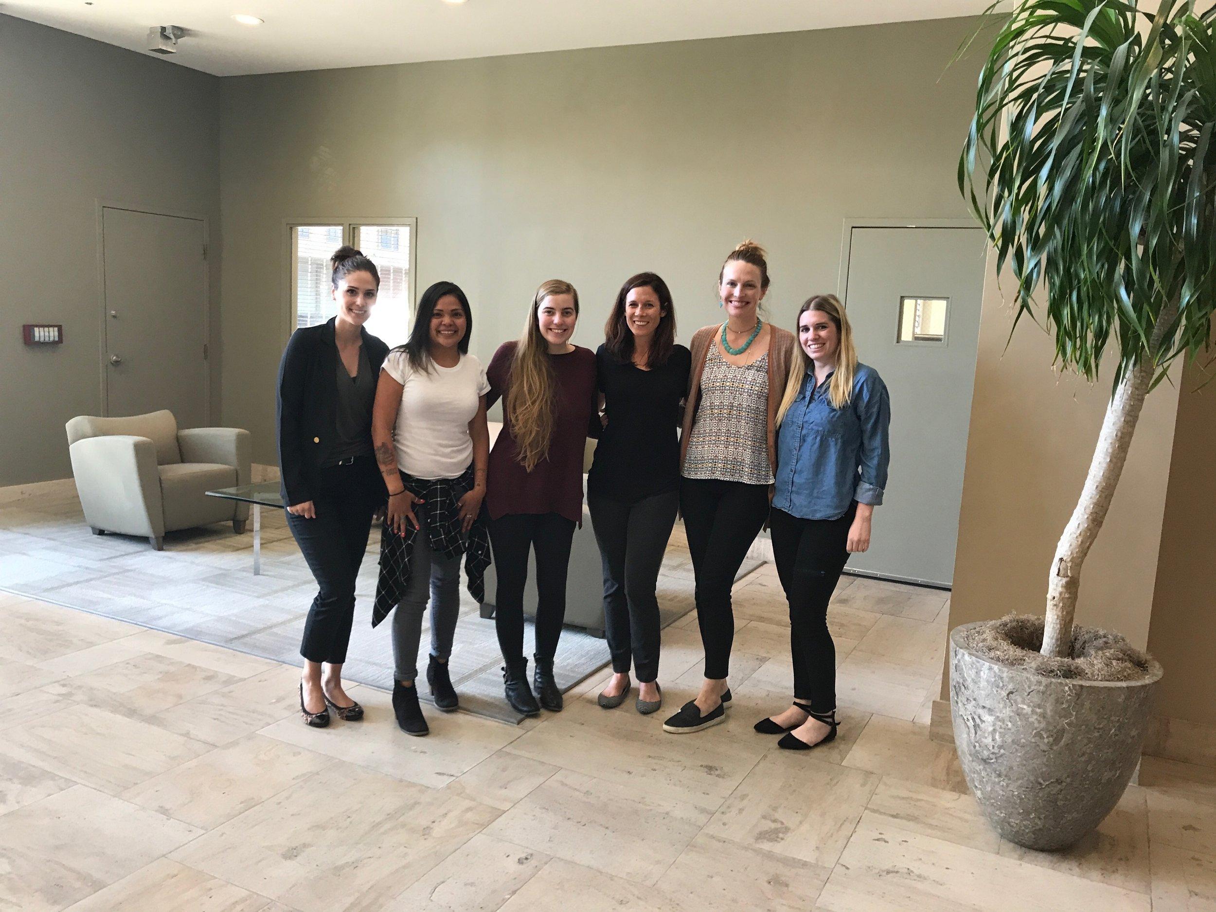 Heather (volunteer), Margarita (office coordinator), Nicole (speech language pathologist), Jody (speech language pathologist), Melissa (audiologist), McKenna (audiology doctoral student)