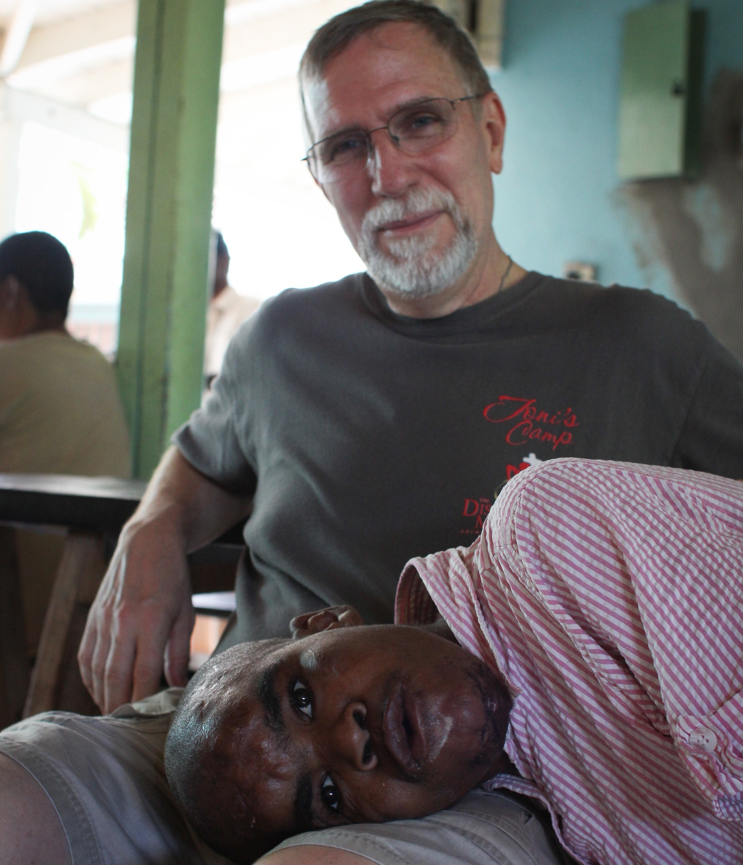 My father-in-law, Jack, with Kimberly, one of the residents of Jacob's Well,whom he met on his first trip to Jamaica in 1999.