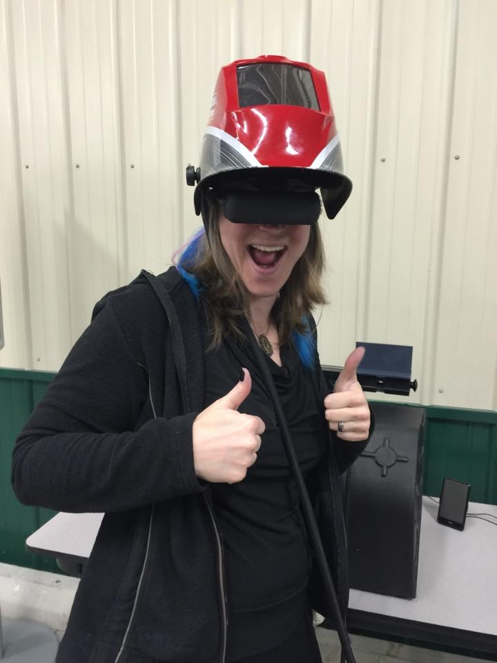 While there, we went to an event at the local community college and I tried my hand at Virtual Welding, which is a thing. Apparently, I'm not very good at that thing.