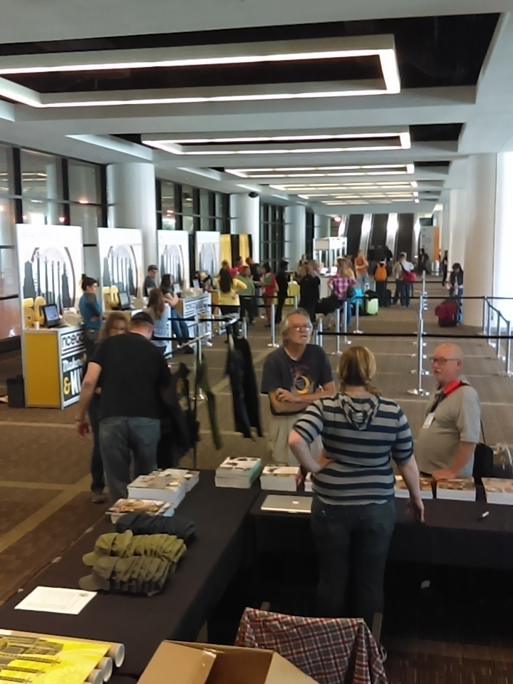 My first volunteer shift was at the merchandise table (there were not a whole lot of people registering that day).