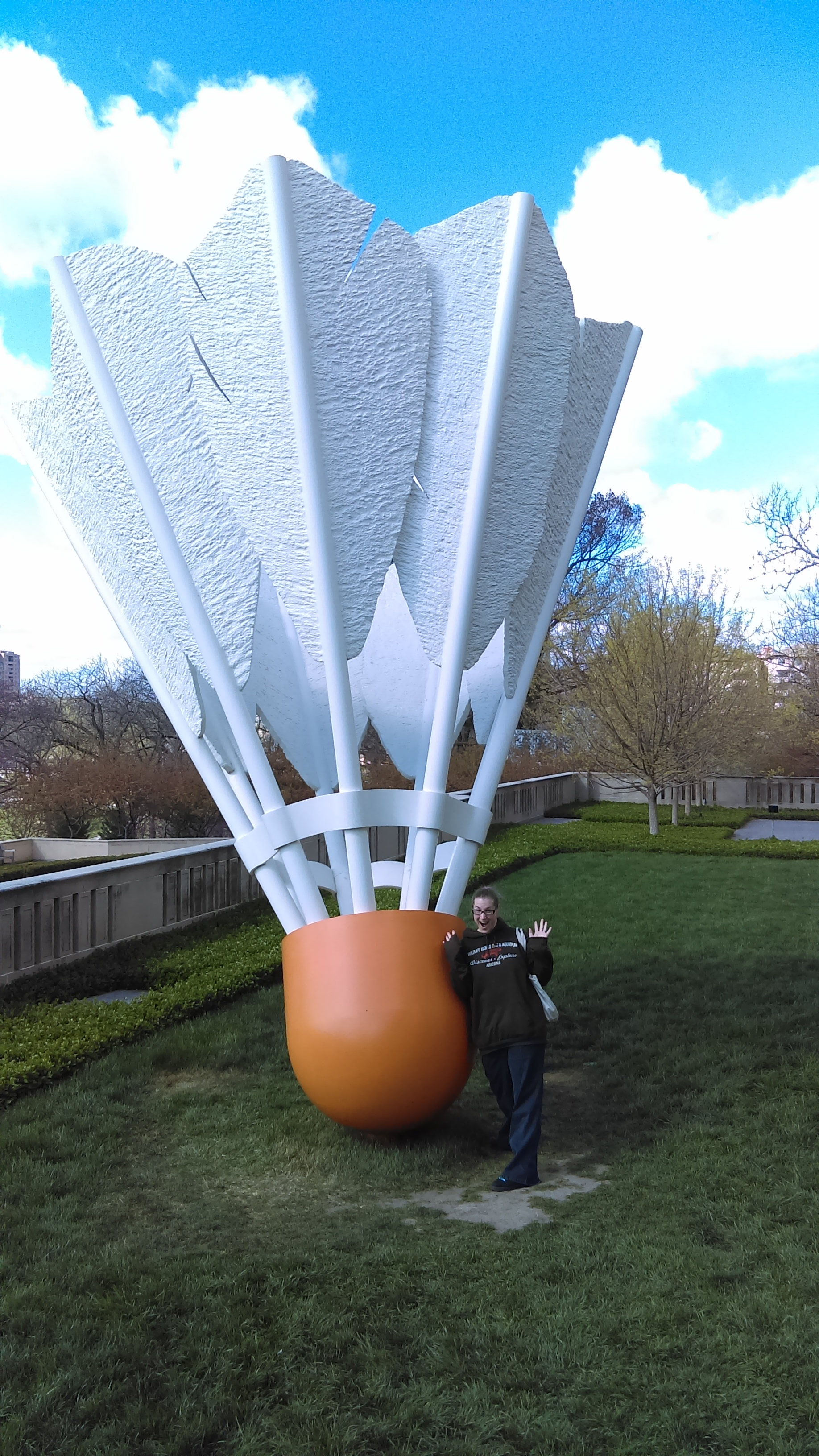And some GIANT  shuttlecocks by Claes Oldenburg and Coosje van Bruggen (Me for scale).