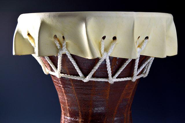 """Primitive Drum"" by Lindsay Zike #Ceramic, #GoatHide, Nylon, Rope. ""What Makes Me"" @TucsonClayCoop. See more at ZikeStudios.com  #Ceramics, #Tucson, #Art, #Artist, #CeramicArt, #pottery, #potter, #claysculpture, #handmandpottery, #handmadeceramics, #contemporaryceramics, #claywork, #instapottery, #handmade, #ArtsofInstagram, #Instaart, #Primitive, #ancient, #ancientinspiration, #bellydance, #bellydancer, #doumbek #drum"
