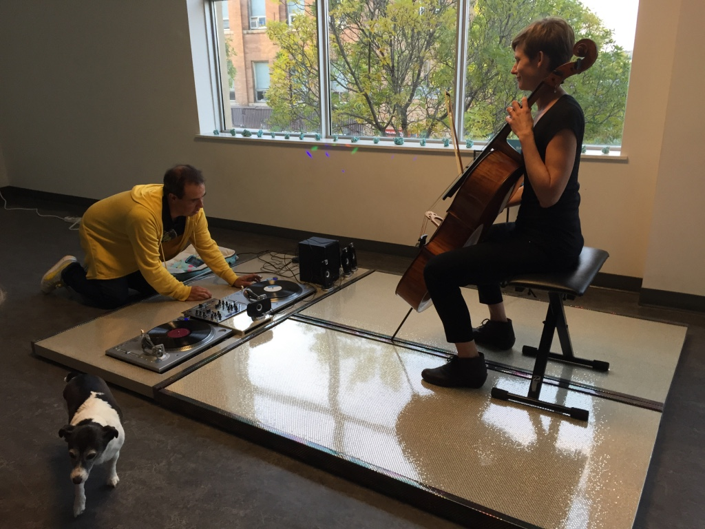 Performing a Bach Tatami Mash-up with artist Kevin Ei-ichi DeForest at Wheat City Nuit Blanche
