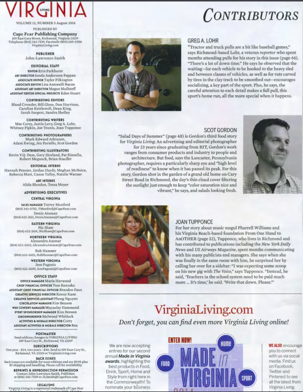 Masthead of Virginia Living Magazine