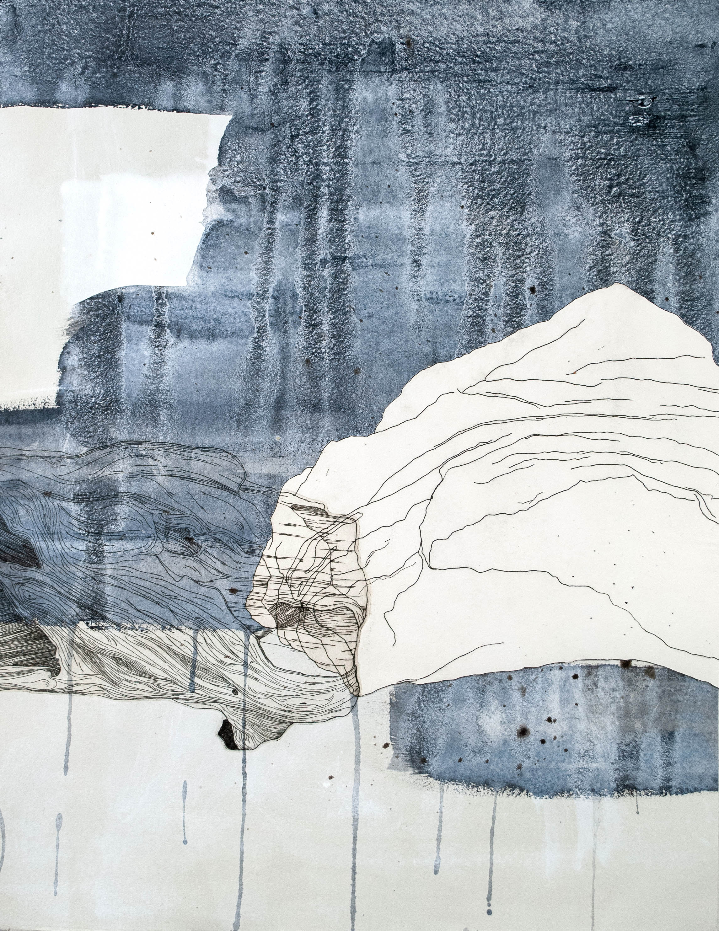 Cold Water   2018  Intaglio, Collage, Acrylic  14 x 18 in.