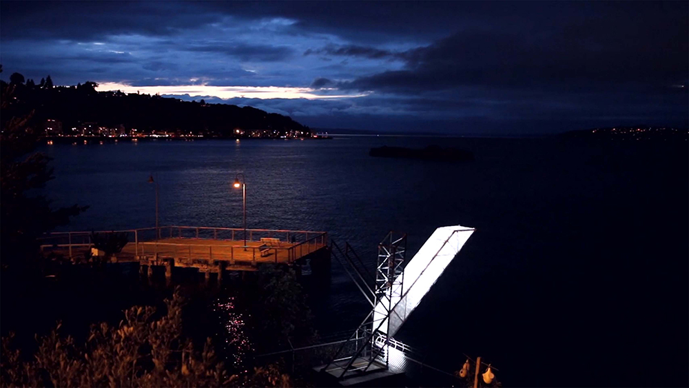 The Duwamish Lighthouse : Water Quality Lighting Beacon - Lighting, Steel, Tyvek, Electronics, Off-Grid Solar15' x 3.5' x 15'$13000.002016Public Art @ Jack Block Park / Terminal 5 - Port of SeattleSeattle Public Utilities - Seattle Office of Arts and Cultural Affairs - Duwamish RevealedCan art build a relationship between humans and the unseen of water quality through light? 15' tall, From 6/15 to 3/16, she breathed/illuminated 17000 lumens from solar power, 2 miles over Elliot Bay according to live water quality data. The landmark project for Crosscut's Best Civic Tech 2015.