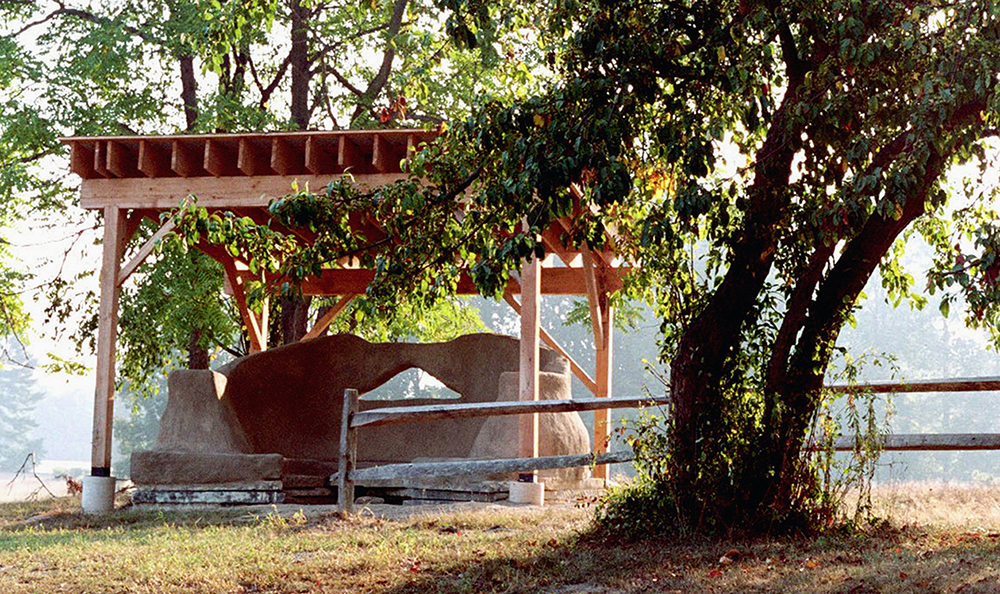 The Earth Circle Community Building Project - Monolithic Adobe, Local Lumber, Stone, Plaster10' x 14' x 12'$10000.02005Campus Public Art @ Vassar College, Poughkeepsie NYDesign/Build of permanent, sculptural gathering area made of monolithic adobe, repurposed materials, and local rough-sawn lumber. Over 100 volunteers involved. Permitted and stamped drawings. Radically sustainable. Oriented to incredible vistas.