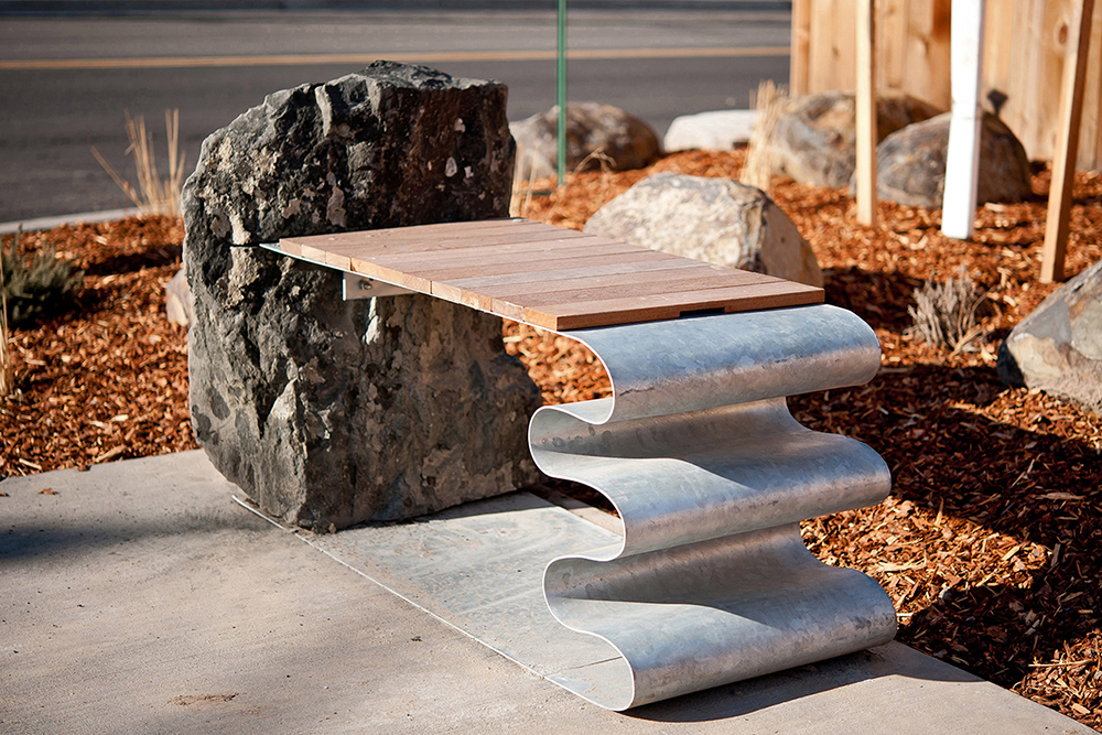 Mountains & Conflux - Site-Specific Downtown Benches - Basalt stone, Ipe wood, Galvanized steel30