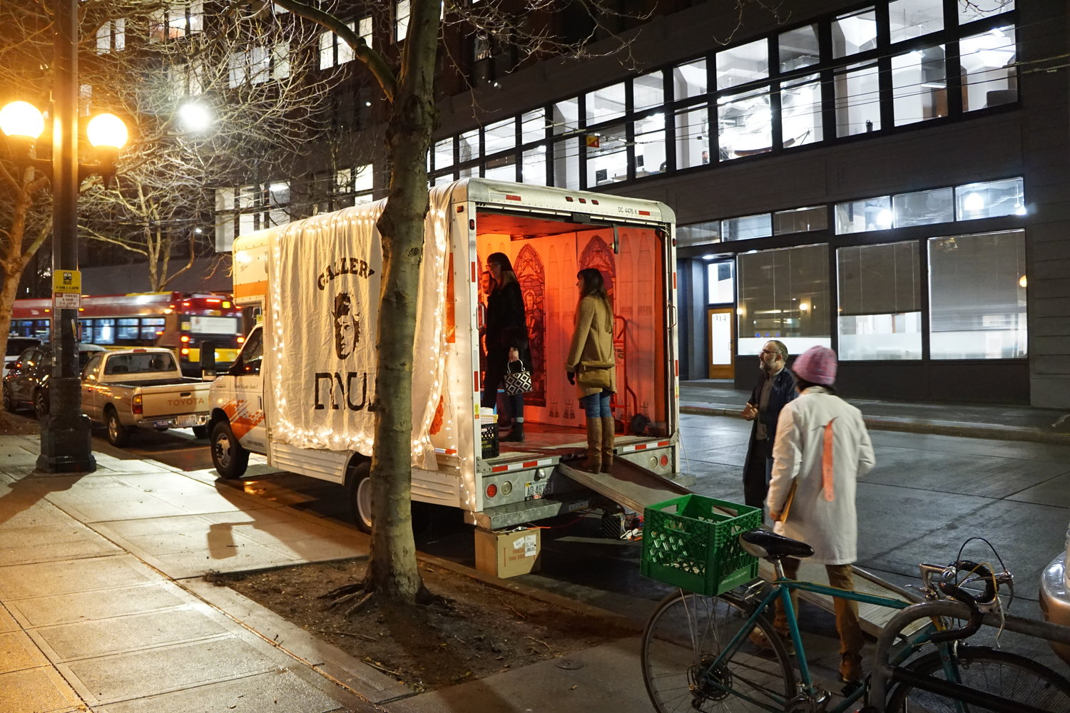 Gallery Raul : A Mobile Art Gallery Experiment - 16' U-Haul Box Truck Rental, Canvas, Lights, Furnishings15' x 10' x 20'$300.00 per show2016-2018Streetside Parking @ Georgetown Art Attack & Pioneer Square Art Walk (Seattle)Gallery Raul is an experiment in affordable easy access to space for artists to share their work. Gallery Raul can also be used for mobile, moving performance art, site-specific exhibitions, and reaching underserved neighborhoods with cultural services. City of Faces is exhibition shown in photo.