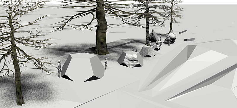 """Yesler Terrace """"Metamorphizing Seed"""" - (Under Construction)3d scans, concrete, steel, earth9' x 60'' x 10'$60000.002016-2018Public Art @ Seattle, WASeattle Housing AuthorityThe larger work concept has been approved by the client, and is an interactive series of organic and geometric """"seeds"""" ranging in height from 2' to 9' and spanning 60', metamorphizing, drawn from the seed cones of site's largest tree. The seeds link to immigrant gardening, the new neighborhood's future, and the changing connection between humans and nature. The work inspired the developer, Vulcan, to name their new building after the Cypress tree the seeds are based on."""