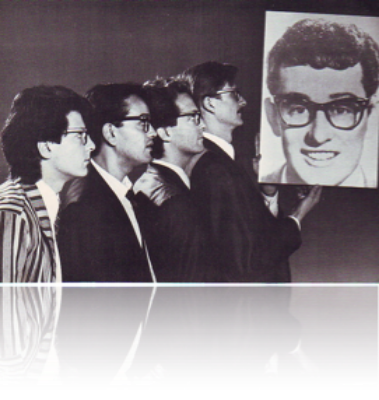 A musical review of the life and music of Buddy Holly created by Carol Gerber  and myself, this show ran off-Broadway @  La Mama   and other venues for a  couple of  years  in the late Eighties, and toured Europe twice. What a blast!   From the left: Bob Russo, Len Amato, Michael Blair, Tom Pile.