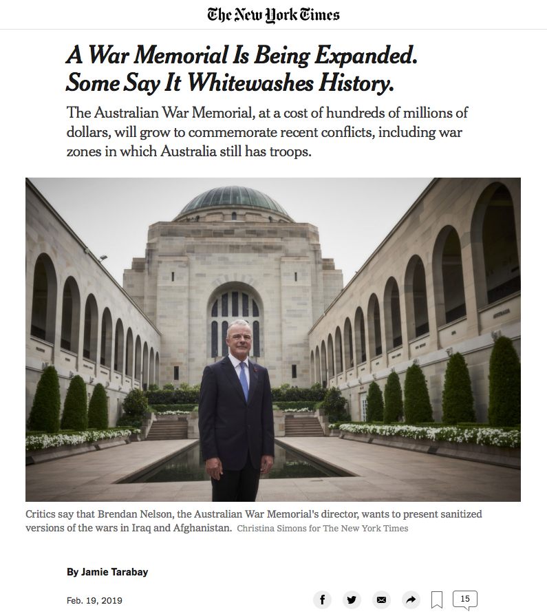 The New York Times - A War Memorial Is Being Expanded - 19th February 2019 - 1