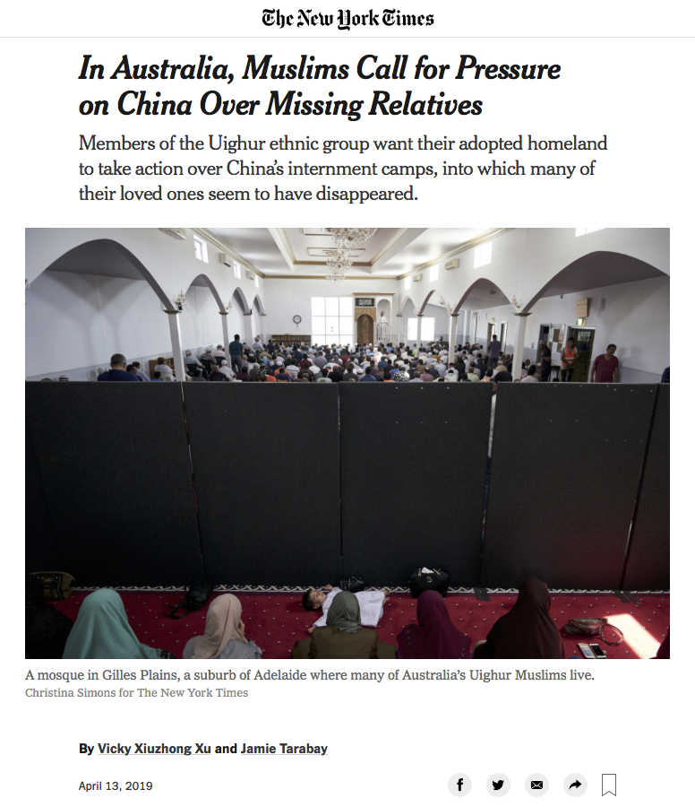 The New York Times - In Australia, Muslims Call for Pressure on China Over Missing Relatives - Adelaide, Australia 13 April 2019 - page 1